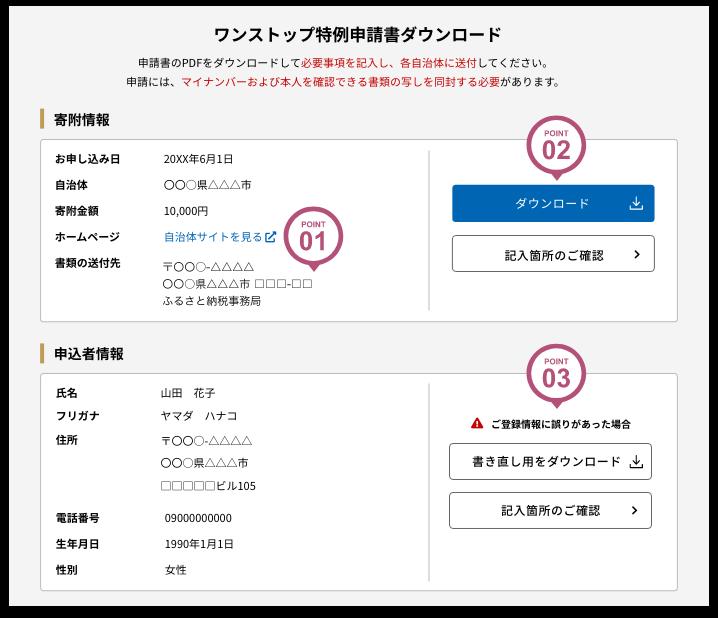 寄附情報と申込者情報を確認しPDFファイルをダウンロード!