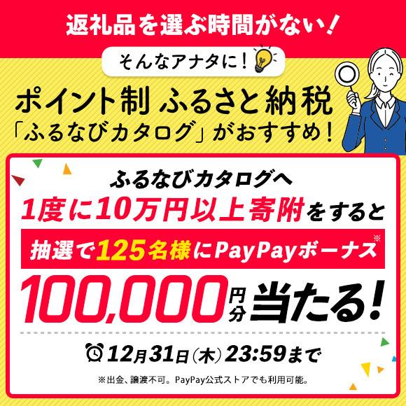 エントリー後、ふるなびカタログへ1度に10万円以上寄附をすると、抽選で125名様にPayPayボーナス※10万円分が当たる!