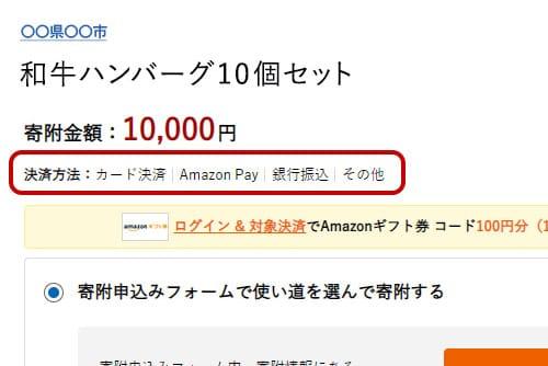 決済方法にAmazon Payがあることを確認して「寄附を申し込む」をクリック