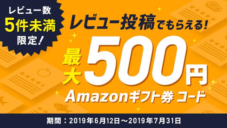 レビュー数5件未満限定! レビュー投稿でAmazonギフト券コード最大500円プレゼント!