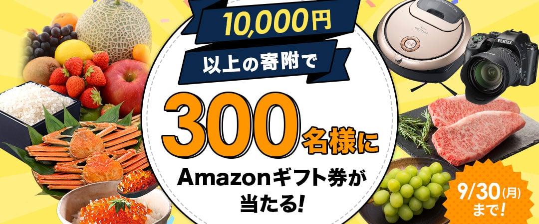 10,000円以上の寄附でAmazonギフト券が300名様にあたる!