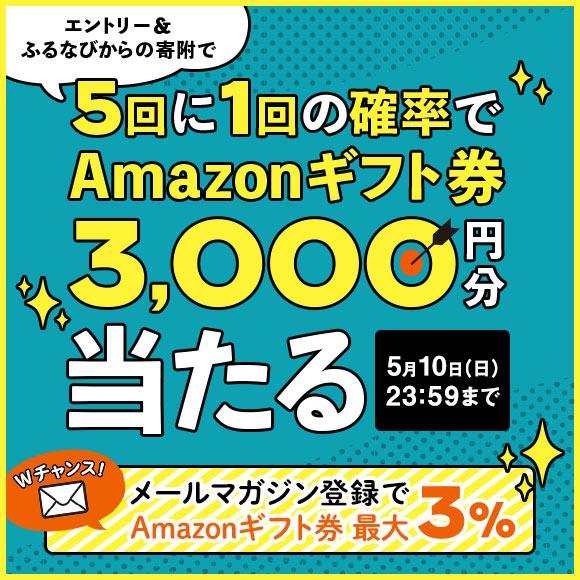 【Wチャンスも!】エントリー&ふるなびからの寄附をすると、5回に1回の確率でAmazonギフト券 コード3,000円分が当たる!