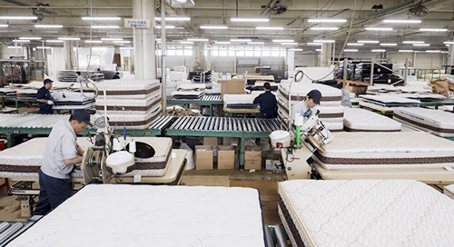 フランスベッドマットレス工場製造風景