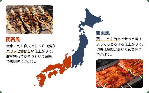 関西、関東でのうなぎの蒲焼の違いについて説明しています。