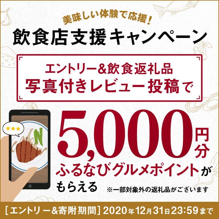 美味しい体験で応援!飲食店支援キャンペーン 飲食返礼品に対して写真付きレビューを書くと5,000円分のふるなびグルメポイントがもらえる!