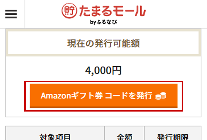 Amazonギフト券 コード発行可能時画面