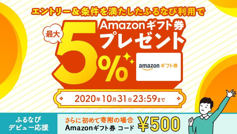 エントリー&ふるなびからの寄附でAmazonギフト券 コードが最大5%もらえる!
