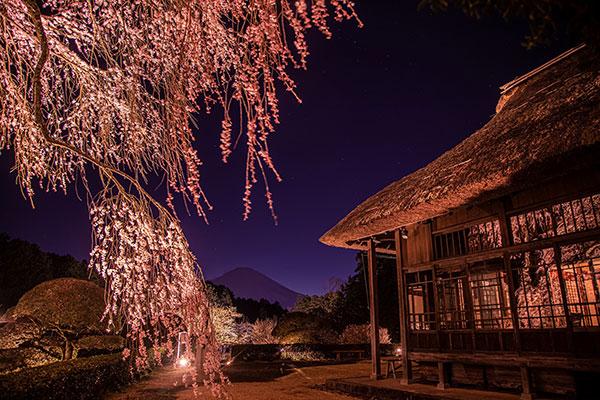 母屋と富士山