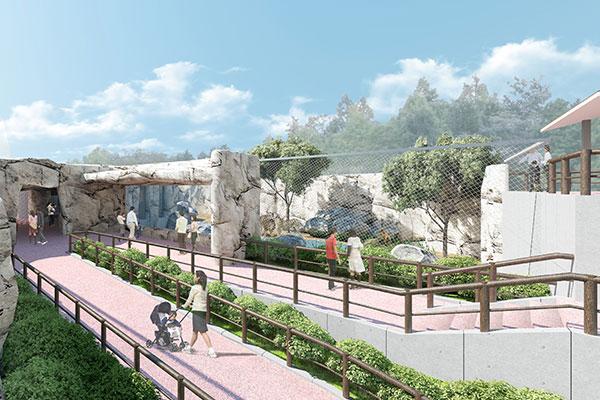 新猛獣舎完成イメージ図(バリアフリーに対応した園路の様子)
