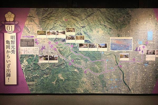 亀岡から本能寺への進軍ルート