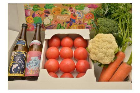 【2619-0007】岩倉の味満喫セットC【夢吟香いわくら2本・水耕栽培トマト・季節の野菜】
