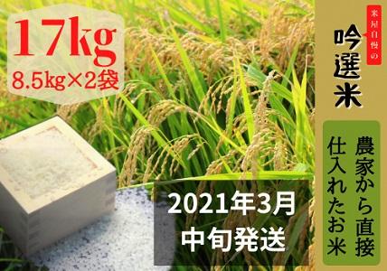m_62 桑名米商 お米17kg(8.5kg×2袋)【2021年3月中旬発送】