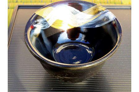 黒に金と銀の模様がスタイリッシュ!【徳村屋の那智黒石ぐい吞み(さかずき型)×2個】