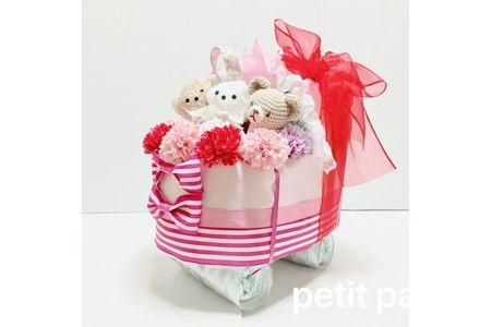 【2621-0010】おむつベビーカー ピンク&ベビーグッズの詰め合わせ