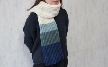[403]焼尻めん羊100%使用 手編みマフラー