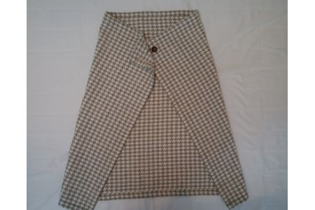 【2628-0180】ウール92% 着る 毛布 千鳥格子 ベージュ系