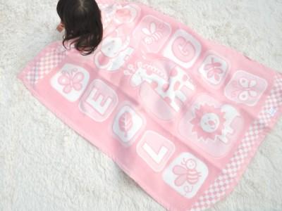 【2628-0524】【限定10枚】毛布の町泉大津市産・ベビー毛布(アニマル柄)ピンク