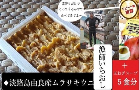 AU79◇ミシュランガイド掲載店も使用!淡路島由良漁港直送だからお届け出来る本物の由良ウニ(50g×1枚)+玉ねぎスープ付き