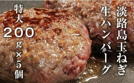 BY61◇淡路島玉ねぎ生ハンバーグ特大200g(無添加)冷凍5個セット