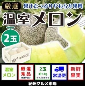 ≪4月出荷分≫【秀選】温室アールスメロン 大玉(2玉) 紀州グルメ市場