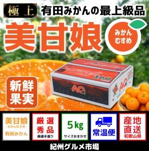【極上みかん】有田みかん最上級品「美甘娘」糖度12度以上 5kg(2S~Lサイズ) 紀州グルメ市場