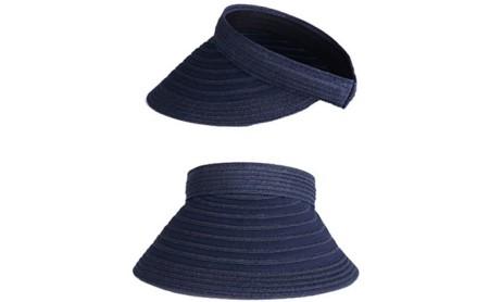 天然 クリップバイザー 婦人 帽子   ネイビー