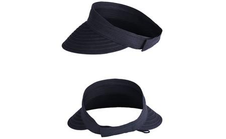 天然 クルクルバイザー 帽子 ブラック
