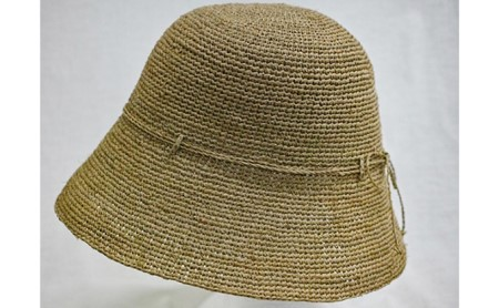 天然ラフィア 手編みクロッシェ帽子 ベージュ