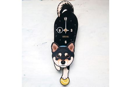 D-001 黒柴-犬の振り子時計
