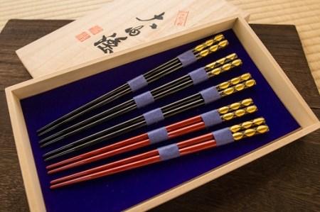 D-094 【伝統工芸品】大内塗箸5膳セット
