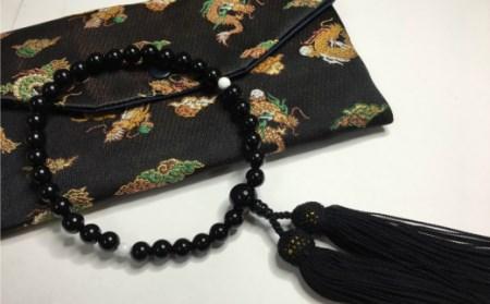 KN016オニキスと白珊瑚の片手数珠