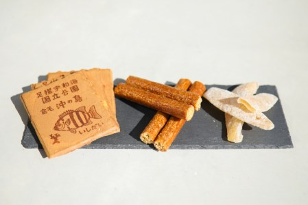 [019002]宿毛名菓3点セット(きんぼう、土佐文旦漬け、石鯛せんべい)