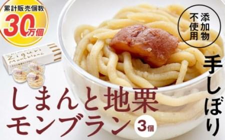 【新栗】栗本来の風味「しまんと地栗モンブラン(3個入)」 Qdr-77