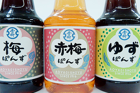 M0807【ぽん酢(150ml×3本)セット】<梅・赤梅・ゆず>ぽん酢3本セット(青柳醤油)