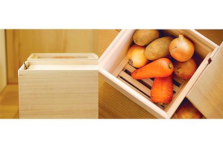 E0723 【桐箱セット】米びつ<5kgタイプ>+野菜保存箱<Lサイズ>(増田桐箱店)