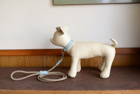 水色の牛革を使った小型犬用の首輪とリードセット
