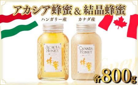 ハンガリー産「アカシア蜂蜜」 800g ・カナダ産「結晶蜂蜜」 800g B-747