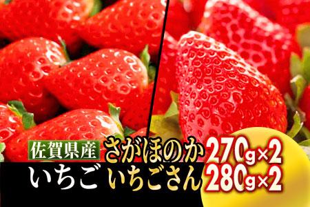 佐賀県産いちご詰合せ 「さがほのか」270g×2P 「いちごさん」 280g×2P【数量限定】A-41