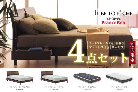【フランスベッド4点セット】ベッドフレーム 2サイズ(シングル・セミダブル) & マットレス 2サイズ(シングル・セミダブル) Z-39