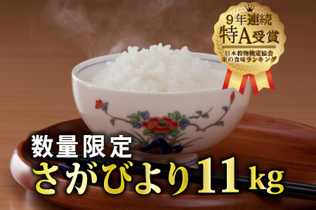 """30年産""""9年連続特A受賞""""さがびより11㎏(5.5㎏x2袋)B-445"""