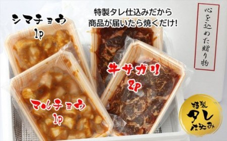 BN015_味付けホルモン(マルチョウ・シマチョウ)各250g・味付けさがり500g(250gx2P)セット