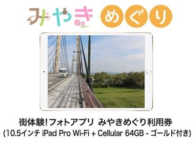 27J1 街体験フォトアプリ みやきめぐり利用券  (10.5インチ iPad Pro Wi-Fi + Cellular 64GB - ゴールド MQF12J/A 付き)