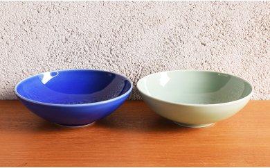 A30-18 深川製磁 呉須釉・笹青磁 ペアめん鉢