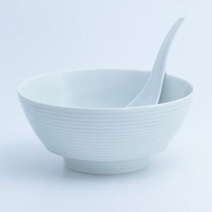 A12-10 まるぶん 白磁千段 ラーメン鉢(レンゲ付)