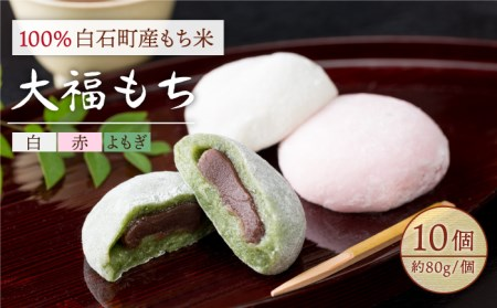 【A-22】白石産もち米使用 大福もち(白、赤、よもぎ)