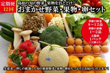 AF059【定期便】【年12回】島原の旬の野菜・果物!おまかせ野菜・果物・卵セット