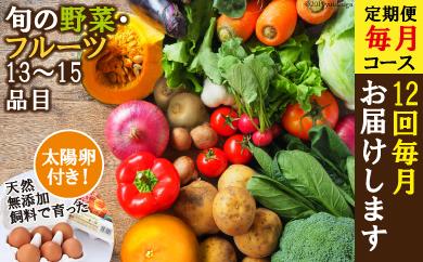 【年12回毎月コース】旬の野菜・フルーツセット定期便【太陽卵6個付き】 13品目から15品目の豪華セット