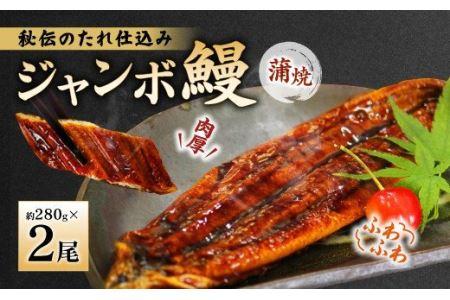 """肉厚でふわふわのジャンボ 鰻蒲焼 2尾 当社""""秘伝のたれ""""仕込み ウナギ"""