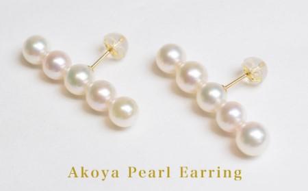 S085-076_天草産 5-6mm 5連 ベビーパール ピアス あこや真珠