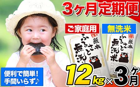 ご家庭用 熊本ふるさと無洗米14kg 3ヶ月定期便 熊本県産 無洗米 14kg 精米 御船町《2021年12月より出荷開始》計3回お届け 10kg 以上 米 コメ 7kg×2袋 無洗米 ヒノヒカリ使用